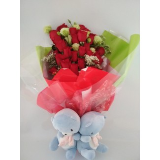ROSES WITH VALENTINE'S TEDDY BEAR