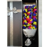 Rainbow colour soap roses in box